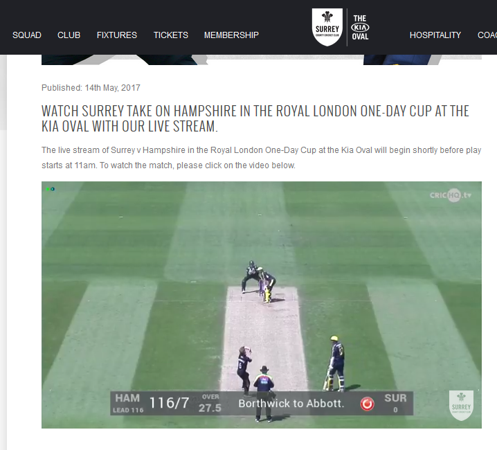 Surrey CCC using MAR